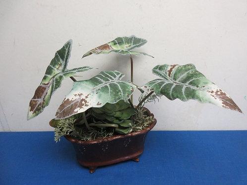 "small artificial floral succulent arrangement  5x9x10"" tall"