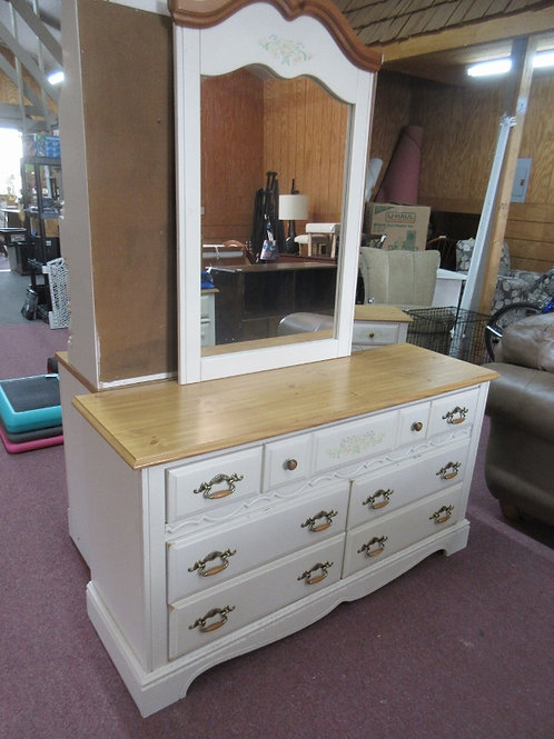 """Ivory natural top dresser with mirror floral design, some wear, 18x56x30"""""""