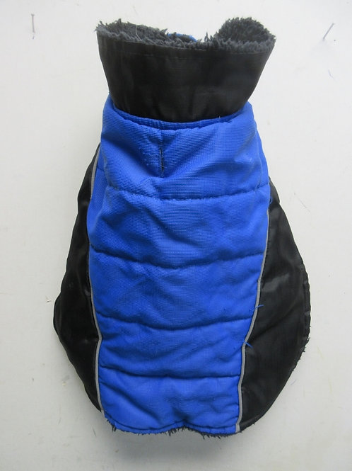 Furry lined 2 tone blue coat for a medium size dog