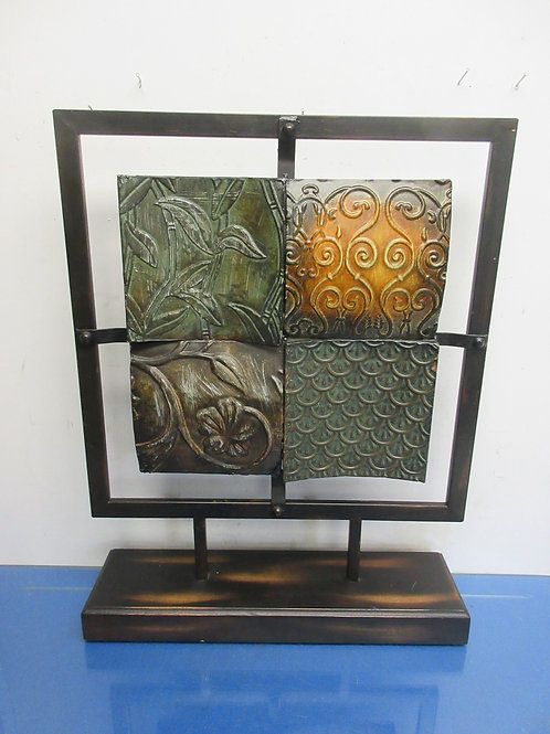 """Table top welded metal art pc-4 decorative squares on a stand 16x21"""""""
