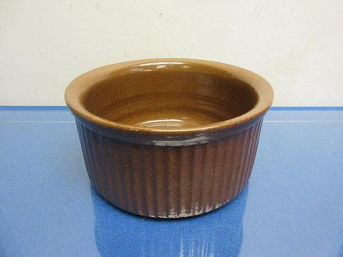 "Brown glazed pottery bowl 8""dia x 4""high"