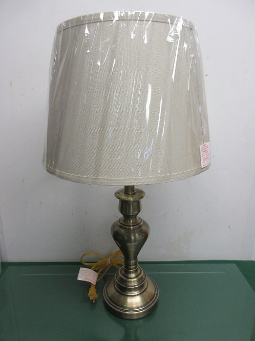 "Brushed brass style lamp with New tan shade 25""high, 2 available"