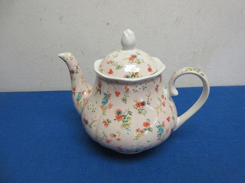 "Kent Pottery floral tea pot 7"" tall"