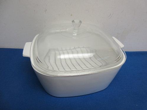 Corningware white cookmate 4.5qt, square baking dish w/ lid and baking rack