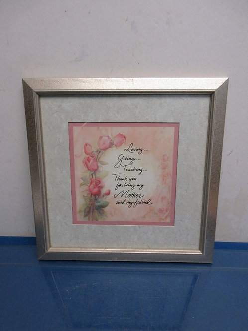 """Print of saying""""Love, giving..,."""" silver frame 12x12"""""""