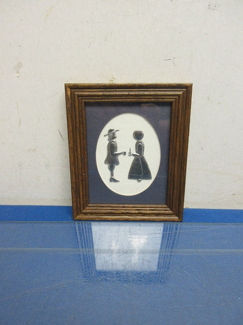 Reed handmade framed pewter of man and lady, 5x6""