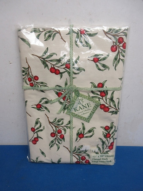Oblong vinyl flannel back tablecloth  - 52x70  - red berry design - new