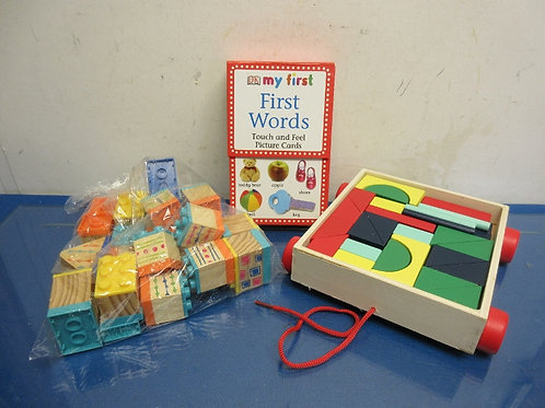 Children's 3pc set-my first wors, building blocks& pull along wood block set