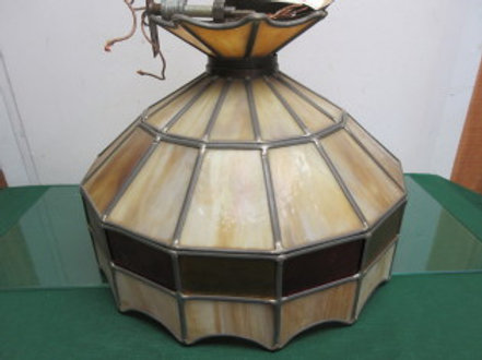 Tiffany brand stained glass shade - beige, gold and red colors