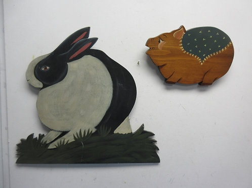 Pair of hand paitned wooden animals with hanging hooks , a rabbit and pig