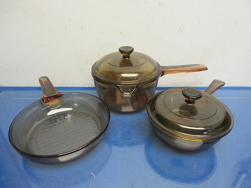 Corning Vision brown glass cookware - small fry pan and 2 small pots w/lids