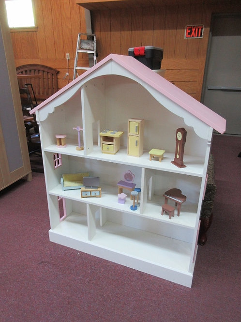 White wood doll house/bookcase with pink roof-includes doll furniture 44x12x51""