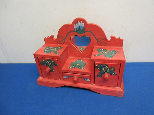 Small red table top 3 drawer organizer with frog design