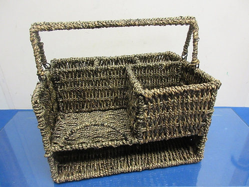 Heavy duty woven jute large utensil caddy with extra sections