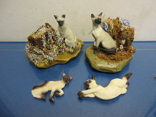 Small group of 4 Siamese cat figurines