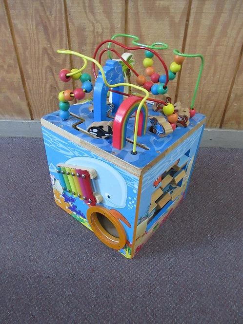 Children's wooden activity cube, 12x12x12, 5 sides of fun