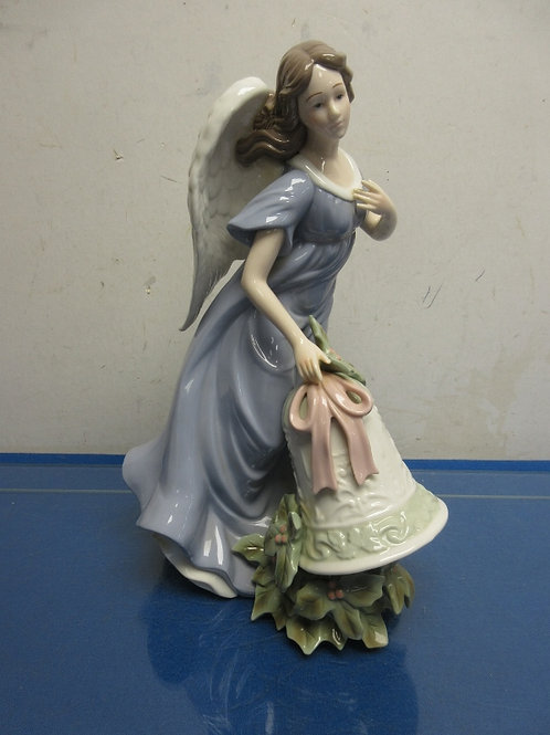 """Standing angel in blue dress with large bell 12"""" high"""