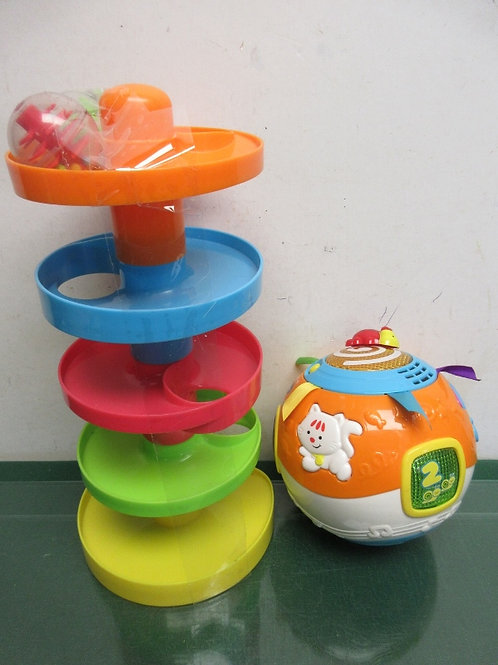 Ball 2 pc play set - spiral tower with 2 balls and vtech move & crawl ball