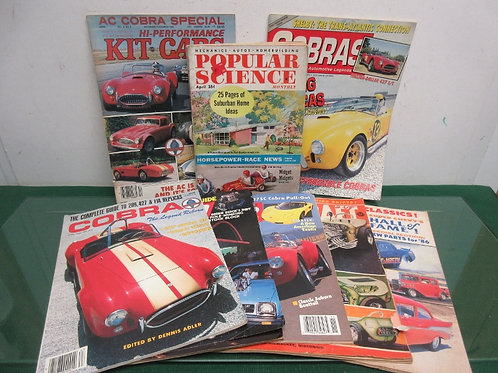 Vintage set of 7 high performance car magazines & one popular science mag (1955)