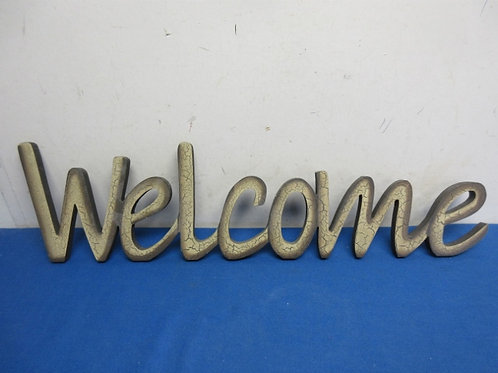 """Decorative word """"Welcome"""" with crackled finish, 22"""" long"""