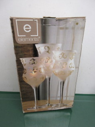 Elements set of three stemmed hurricane candle holders in box