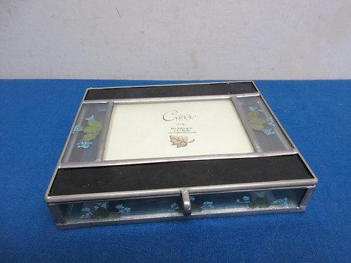 Burnes of Boston glass box holds 5x7 photos