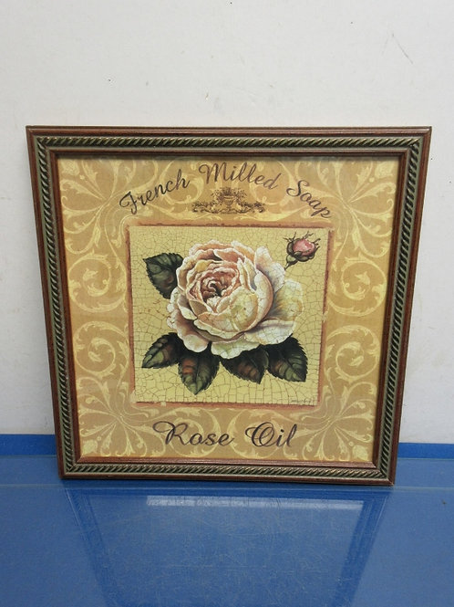 """French milled soap Rose print, crackled finish, wood frame 13x13"""""""