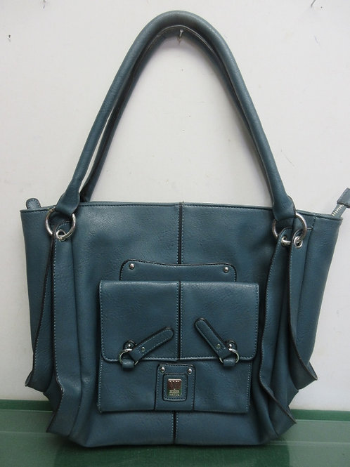 Couture by Kooba blue/green leather shoulder bag/purse, w/multi compartments