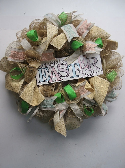 """Handmade large ribbon wreath with """"happy easter"""" wood sign in middle"""
