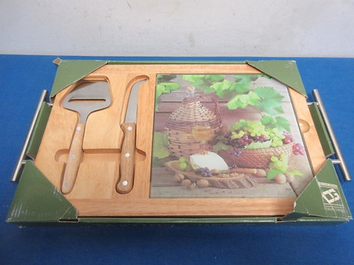 Cheese board server, good with glass insert & 2 utensils, New in box