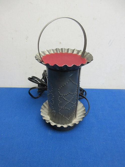 """Irwins tinware, punched tin electric wax warmer, 8"""" high"""