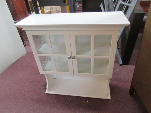 White wood bathroom wall cabinet with double glass doors