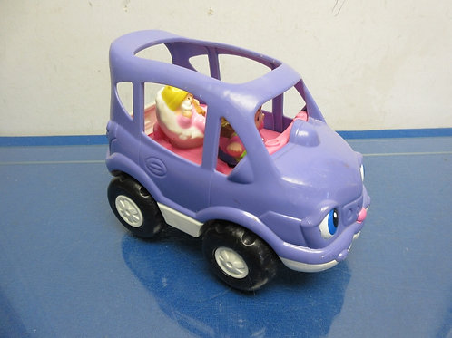 Fisher Price little people purple car with 2 people