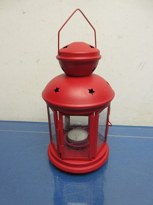 """Red candle lantern 8"""" tall"""