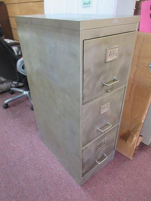 "Gorman vintage 3 drawer heavy file cabinet, top drawer has file racks 15x25x42""h"