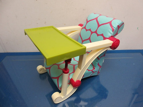 Our Generation clip on chair - chair with removeable tray - blue and pink for 18