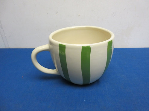"Ceramic beige & green stripe extra large mug with handle, 6"" dia x 5.5"" tall"