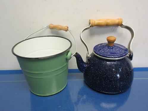 Pair of decorative enamel coated items, small pail & blue tea pot
