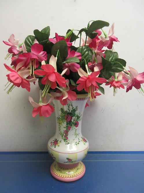 """Footed floral ceramic vase with pink flower arrangement 16"""""""