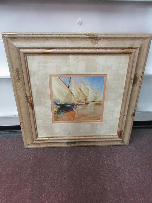 Asian print of chinese junk boats in spotted frame - 27x27