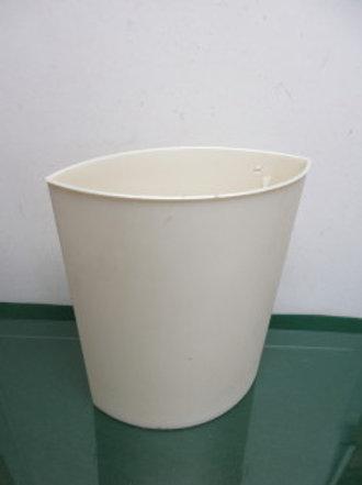 Oblong ivory plastic wastebasket