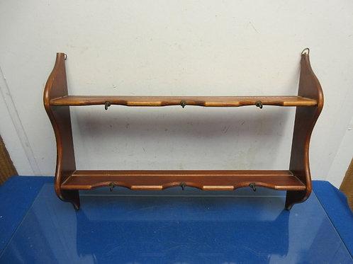 "Small double level wall shelf with hooks for keys, 3.5 deep x 20"" long"
