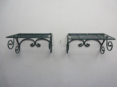 "Pair of green metal small hanging shelves, 5x8"""