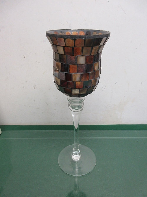 """Mosaic tall stemmed candle stand 14"""" tall"""