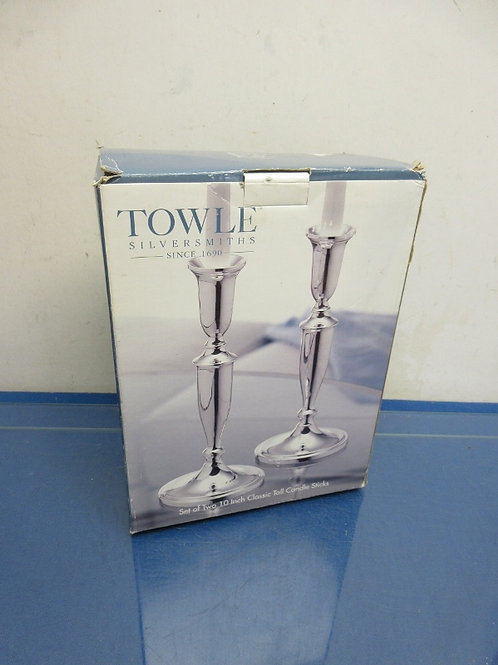 """Towle silver smith pair of 10"""" candle sticks in box"""