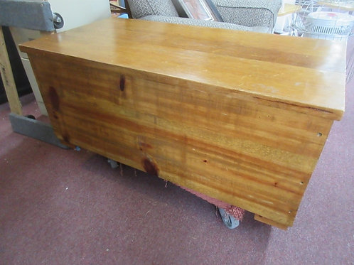 """Handmade heavy stained wooden hinged chest, 23x45x48"""" tall"""