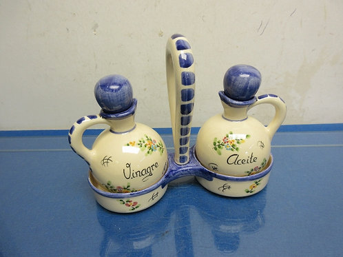 Ceramic oil and vinegar set with caddy-blue floral design