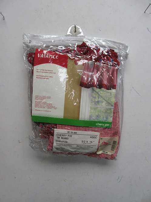 Cherry pie red & white window valance 50x15, New in package