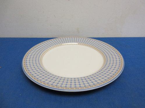 "Royal Dalton large serving plate with blue plaid rim, 11"" diameter"