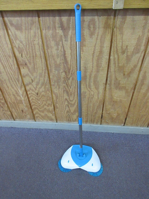 Blue and white hard surface manual sweeper with brushes